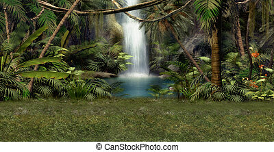 Jungle Waterfall - a magical landscape with waterfall,...