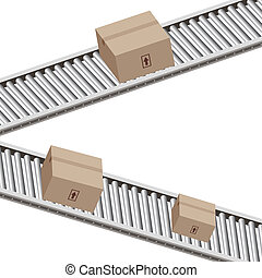 Conveyor Belt Boxes - An image of a boxes on a conveyor belt...