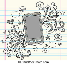 Cell Phone PDA Sketchy Doodles Set - Hand-Drawn Mobile Cell...