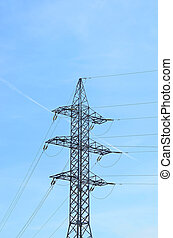 Electric lines pylon on blue sky background