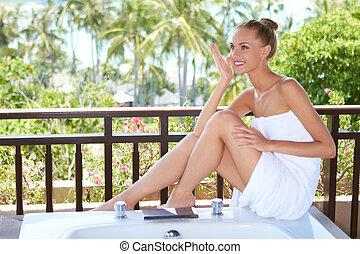 Elegant woman in towel