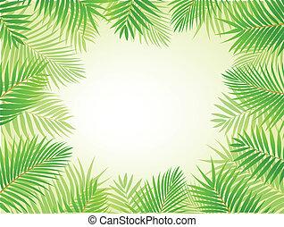 Palm leaf background - Vector Illustrati9on Of Palm leaf...