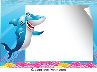Shark cartoon with blank sign - Vector Illustration Of Shark...