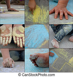 fun with sidewalk chalk - collage of fun with sidewalk...