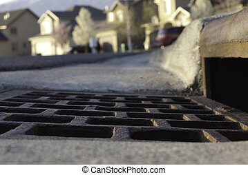 vew of gutter and storm drain in neighborhood - vew of...