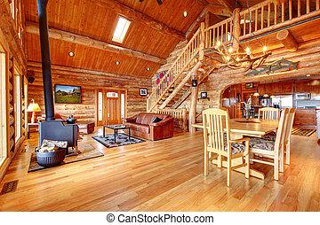 Large luxury log house living room - Large luxury log house...