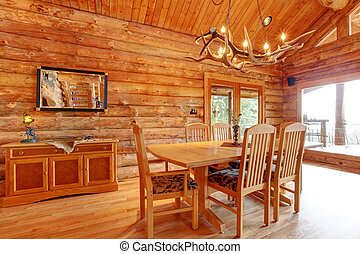 Log cabin dining room interior. - Log cabin dining room...