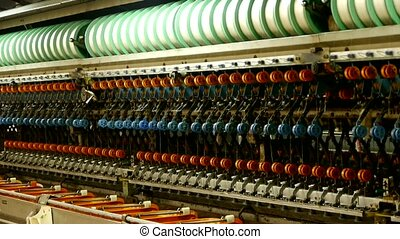 Reeling machine and Textile machine in operation.
