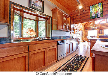 Large kitchen lof cabin house interior.