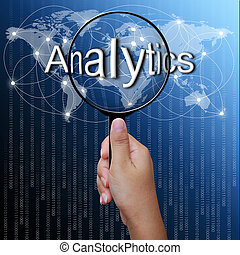 Analytic, word in Magnifying glass,network background