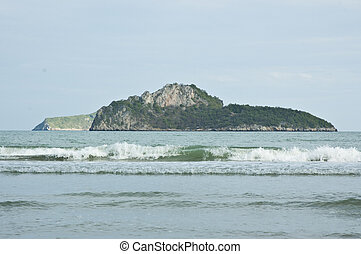Mountain in the sea.Aow Manao, Prachuap Khiri Khan.