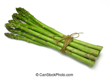 Asparagus spears tied in a bunch with twine (string),...