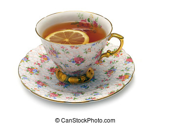 Black Tea - Cup of black tea with lemon slice, isolated on...