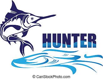 caçador, peixe, logotipo, vetorial