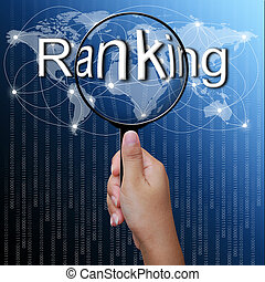 Ranking, word in Magnifying glass,network background