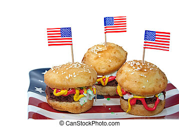 American Hamburg Cakes - Hamburg cakes with American flags...