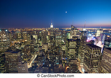 New York City at night - New York City Skyline from the...