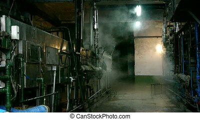 Factory filled with steam.dim light,Valve,Pipeline,Boiler.