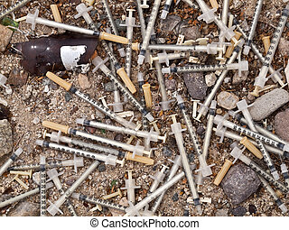 Medical Waste Syringe Dump - Dangerous illegal medical waste...