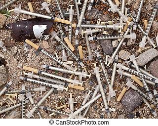 Medical Waste Syringe Dump - Dangerous illegal medical waste...