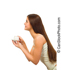 girl with cap of coffee