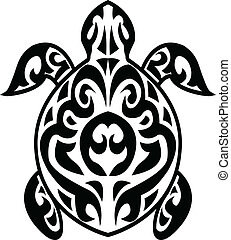 Turtle tribal tattoo - Vector Illustration Of Turtle tribal...