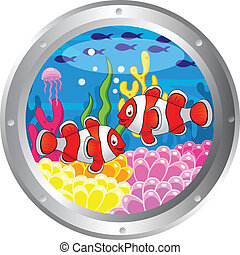 Clown fish cartoon with porthole frame