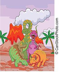 Dinosaur cartoon  - Vector Illustration Of Dinosaur cartoon