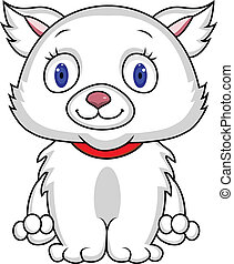 White cat - Vector illustration of funny white cat
