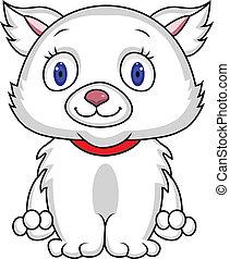 White cat - Vector illustration of funny white cat