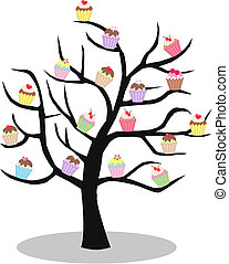 a cupcake tree - a tree full of cupcakes