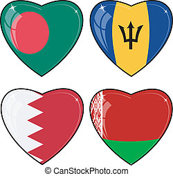 Set of vector images of hearts with the flags of Bangladesh, Barbados, Bahrain, Belarus