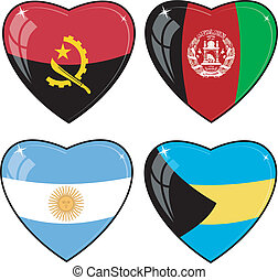 Set of vector images of hearts with the flags of Afghanistan, Angola, Argentina, Bahamas