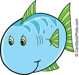 Cute Blue Fish Vector