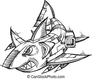 Sketch Doodle Robot Cyborg Shark Vector Illustration