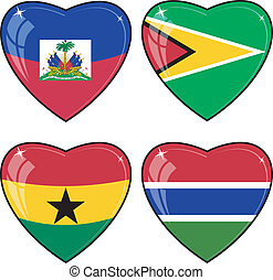 Set of vector images of hearts with the flags of Guyana,...