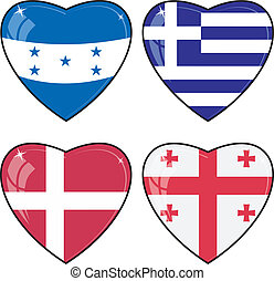 Set of vector images of hearts with the flags of Honduras, Georgia, Greece, Denmark