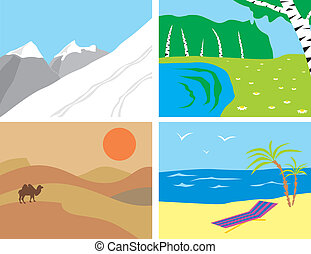 Landscapes in the primitive style: the mountains, the...