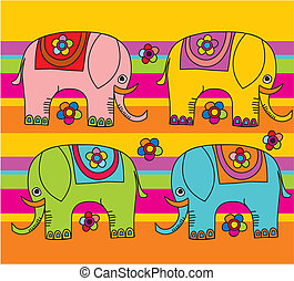 cartoon funny elephants - editable and scalable, vector...