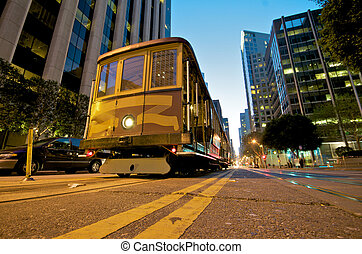 San Francisco Cable Car at night - Cable car station at the...