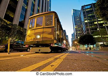 San Francisco Cable Car at night - Cable car station at the...