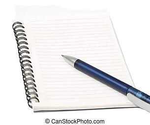 Blue pen on blank page - Pen on blank page of open notebook
