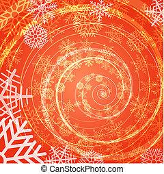 Winter snow storm spiral background,