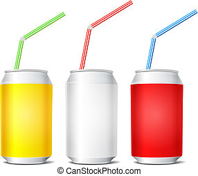 Collection of colorful steel cans