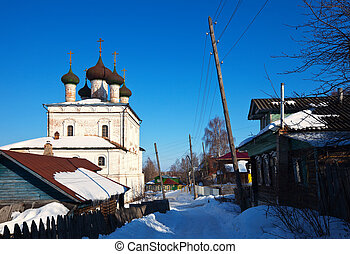 View of Gorokhovets in winter. Russia - Church of the...