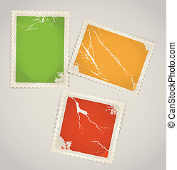 Vintage color post stamps template