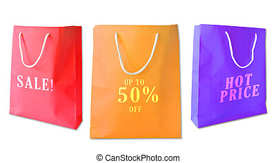 Sale shopping bags isolated