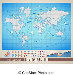 World map with ship tracking - Infographics. World map with...