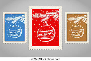 Vintage post stamp. Merry Christmas