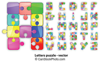Letters puzzle, vector